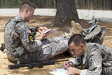 US Army Rangers Map Out their Route for Day Land Navigation