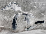 Satellite View of Ice on the Great Lakes  United States
