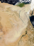Satellite View of a Dust Storm Stretching from Sudan Toward Egypt