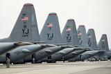 US Air Force C-130 Hercules Aircraft on the Flight Line at Yokota Air Base