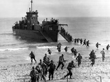 Soldiers of the US Army Invade the Beach During Operation Torch in North Africa
