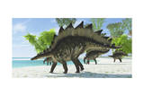 Stegosaurus Dinosaurs Drinking from a Jurassic Lake