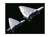 Artist's Concept Showing the Relative Sizes of the X-33 and Venturestar