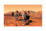 Artist's Concept of Astronauts Setting Up Weather Monitoring Equipment on Mars