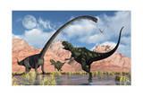 A Pair of Yangchuanosaurus Dinosaurs Confront an Omeisaurus