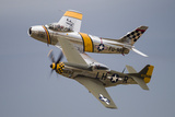A P-51 Mustang and F-86 Sabre of the Warbird Heritage Foundation