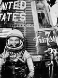 Astronaut John H Glenn Jr with the Mercury Friendship 7 Spacecraft
