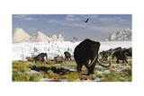 Woolly Mammoths and Woolly Rhinos in a Prehistoric Landscape