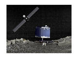 Philae Lander on Surface of a Comet with Rosetta Probe Above