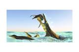 Kronosaurus  Attacks a Pod of Dolichorhynchops in Cretaceous Seas