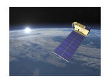 Aura Satellite Orbiting Earth and Rising Sun