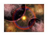 Alien Planets Located in a Vast Colorful Gaseous Nebula