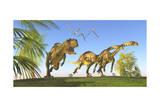 A Yangchuanosaurus Chasing Two Massospondylus Dinosaurs