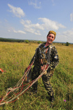 An Armed Forces of Ukraine Paratrooper Poses for a Photo after Landing