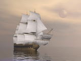 Beautiful Old Merchant Ship Sailing on Quiet Waters