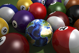 Pool Table with Balls and One of Them as Planet Earth