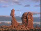 Moon over Balanced Rock  Arches National Park  Utah