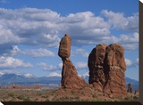 Balanced rock under cloudy skies  Arches National Park  Utah