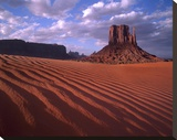 East and West Mittens  buttes with rippled sand  Monument Valley  Arizona