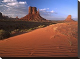 Sand dunes and the Mittens  Monument Valley Navajo Tribal Park  Arizona