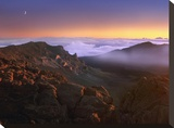 Sunrise and crescent moon overlooking Haleakala Crater  Maui  Hawaii