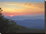 Sunset over the Pisgah National Forest from the Blue Ridge Parkway  North Carolina