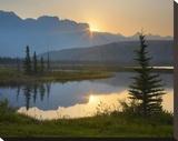 Sunset over Miette Range and Talbot Lake  Jasper National Park  Alberta  Canada