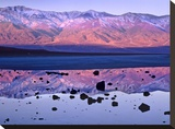Panamint Range reflected in standing water at Badwater  Death Valley National Park  California