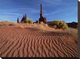 Totem pole and Yei Bi Chei with sand dunes  Monument Valley Navajo Tribal Park  Arizona