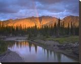 Rainbow over Fairholme Range and Exshaw Creek  Alberta  Canada