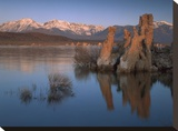 Wind and rain eroded tufa formations along shore of Mono Lake  California