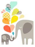 Éléphants Reproduction d'art par The Paper Nut