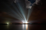 Space Shuttle Discovery in Xenon Lamps Photo Poster Print