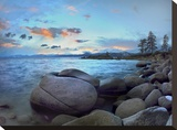 Rocky shoreline along Hidden Beach  Lake Tahoe  Nevada