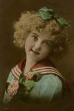 Little Girl in Sailor Suit  with Flowers