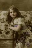 Young Girl with Purple Flowers and Sash