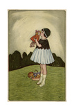 Little Girl on a Hillside with Her Doll