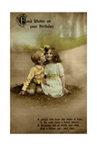Little Girl and Boy on Birthday Postcard