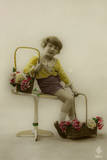 Little Girl on a Postcard with Baskets of Flowers