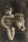 Studio Portrait  Boy with Pekingese Dog
