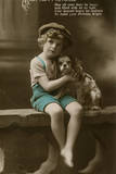 Little Boy with Spaniel on a Birthday Postcard