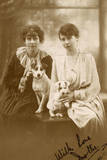 Studio Portrait  Two Young Women with Dog and Puppy