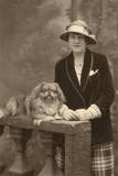 Studio Portrait  Woman with Pekingese Dog