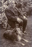 Man with a Dog in a Garden