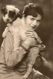 Young Woman with a Puppy