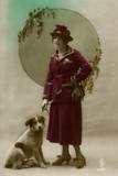 Young Woman in Purple Costume  with Dog