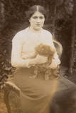 Young Woman with Pekingese Dog in a Garden
