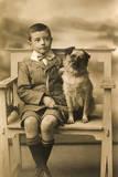 Studio Portrait  Little Boy with His Dog