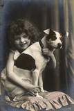 Studio Portrait  Little Girl with Her Dog  France