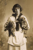Woman with Two Pekingese Dogs